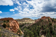Red rock canyon open space. Nature landscape at the red rock canyon open space in colorado springs - mountain vista and blue sky Stock Photo
