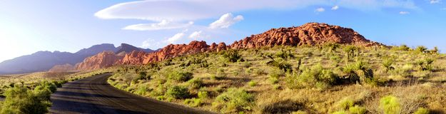 Red Rock Canyon Road Panorama Royalty Free Stock Photos