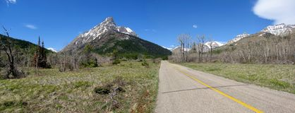 Red Rock Canyon Road in Spring, Waterton Lakes National Park, Alberta. The Red Rock Canyon Road is passing through stretches of prairie with some stands of Aspen royalty free stock image