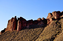 Red rock castle. And road Royalty Free Stock Images