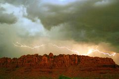Red Rock Cliff Lighting. Padre Canyon Royalty Free Stock Image