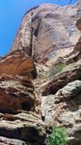 Red Rock Cliff. A towering cliff in Grandstaff Canyon near Moab , Utah Royalty Free Stock Image