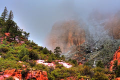 Red rock cliffs stock photo
