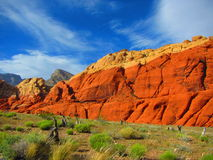 Red Rock Canyon. Red rock cliffs, desert landscape with blue skies. Red Rock Canyon near Las Vegas Nevada stock image
