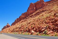 Red Rock Cliffs Near the Highway in Arizona Royalty Free Stock Images