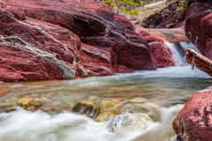 Red Rock creek in motion, Waterton, Alberta stock photography