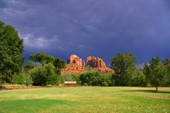 Red Rock Crossing Park. Beautiful view of Cathedral Rock from the entrance to Red Rock Crossing Park near Sedona, Arizona Stock Photo