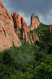 Red Rock Fins. Red rock fin formations and surrounding greenery stock photos