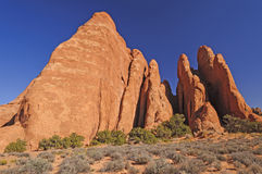 Red Rock Fins Reach for the Sky Stock Photography