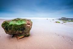 Red rock formation at Exmouth beach in Devon, UK Royalty Free Stock Photography