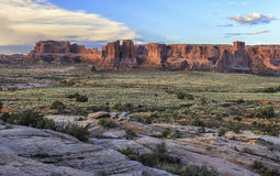 Red rock formations in Arches National Park, Utah Royalty Free Stock Image