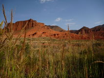 Red rock formations in Canyon Konorchek in Kyrgyzstan Royalty Free Stock Photo