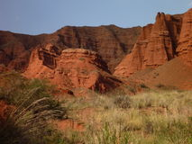 Red rock formations in Canyon Konorchek in Kyrgyzstan Stock Photo