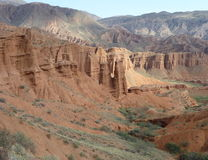 Red rock formations in Canyon Konorchek in Kyrgyzstan Royalty Free Stock Image