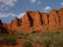 Red rock formations in Canyon Konorchek in Kyrgyzstan Stock Image