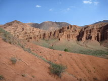 Red rock formations in Canyon Konorchek in Kyrgyzstan Royalty Free Stock Photos