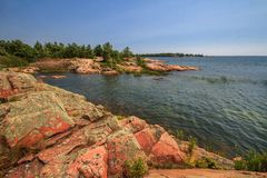 Red rock at Georgian  Bay Ontario  Canada Royalty Free Stock Images