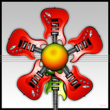 Red Rock Guitar Flower. Illustrated Red Rock Guitars in the shape of a flower, with the green guitar as the stem royalty free illustration