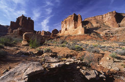 Red rock landscape in Arches National Park. Red rock formations in Arches National Park, Utah Stock Photo