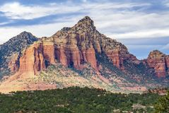 Scenic Cathedral Rock formation at Oak Creek in Sedona Arizona. Red Rock Landscape in Sedona Arizona Landscape Pictures Stock Photo