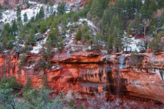 Red Rock Ledge. Water Spilling Over Red Rock Ledge in Zion Canyon National Park stock image