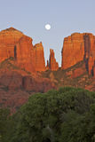 Red Rock Moonrise Royalty Free Stock Photography
