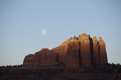Red Rock Moonset Stock Image