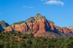 Red Rock Mountain With Geological Layers In Arizona High Desert Stock Photography