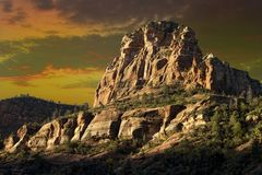 Huge, Tall, and Rugged Red Rock Mountain in Sedona Arizona Stock Photos