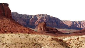 Mountain Ridges. Red rock mountain ridges in the sunlight on a white background Stock Photos