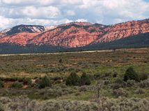 Red Rock Mountains. Mountains of red rock rise out from behind a field Stock Image