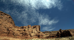 Red Rock Mountains with a Cloudy Sky Royalty Free Stock Photography