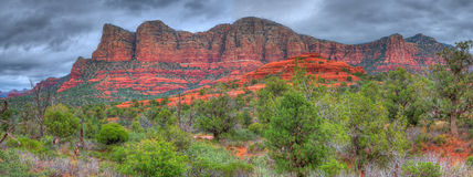 Red Rock Panorama. Storm forming over red rock country Sedona, Arizona, USA panorama Royalty Free Stock Photos