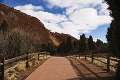 Red Rock Path. The path leading up to the red rocks in The Garden of the Gods in Colorado Springs Royalty Free Stock Photography
