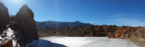 Red Rock and Pikes Peak. Panoramic shot of landscape from Red Rock Open Space, Colorado Springs, CO Stock Photos