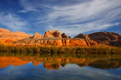 Red Rock River Reflections Stock Image