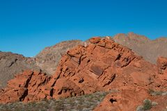 Red rock sandstone in the lake mead national recreation area, Ne. Vada, USA stock image