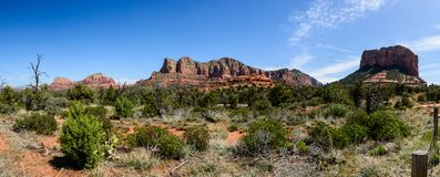 Red rock of Sedona Arizona. View of Red rock in  Sedona Arizona, USA. Green detert plants on the foreground Royalty Free Stock Images