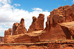 Red Rock Spires. The famous Wall Street formation of redrock, in Arches National Park near Moab, UT Stock Photos