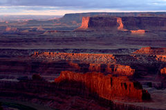 Red Rock Sunrise. Butte and bluffs of red rock canyon at sunrise royalty free stock photos