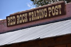 Red Rock Trading Post, Red Valley AZ. Close up of the Red Rock Trading Post Sign, a nod to the old style Navajo Trading Posts in Red Valley, Arizona, Navajo royalty free stock photography