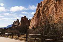 Red Rock Trail. The trail along the beautiful Red Rocks of Colorado Springs Royalty Free Stock Photography