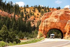 Free Red Rock Tunnel Near Bryce Canyon National Park. Stock Image - 162320201