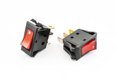 Red Rocker Switches with Light Stock Image