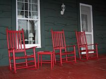 Red Rockers. On Porch of old Hotel Royalty Free Stock Images