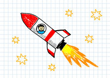 Red rocket. Drawing of red rocket on paper Royalty Free Stock Images