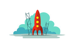 Red rocket color illustration. Flat style. The startup metaphor. Ready to start. The beginning path to the stars. Red rocket color illustration. Flat style. The royalty free illustration