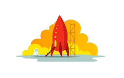 Red rocket color illustration. The startup metaphor. Ready to start. The beginning path to the stars. Red rocket color illustration. Flat style. The startup Royalty Free Stock Photo