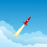 Red rocket flying to the stars. Red rocket flying through the clouds from left to right, to the stars stock illustration