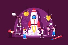 Red rocket start up space with people celebrating royalty free illustration